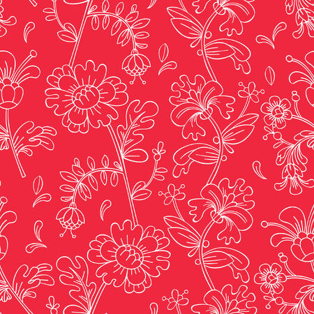 Seamless pattern with decorative flowers. Vector illustration.