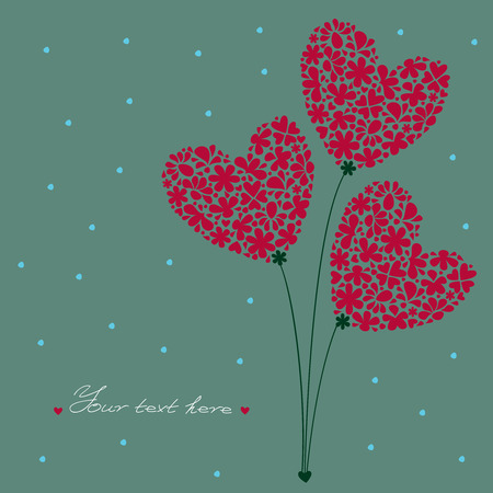 built: Greeting Card. Bouquet of Flowers in a heart-shaped, built of small flowers on a background with dots and place for text. Illustration