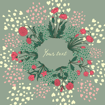 Floral card with hearts and flowers. Vector illustration. Illustration