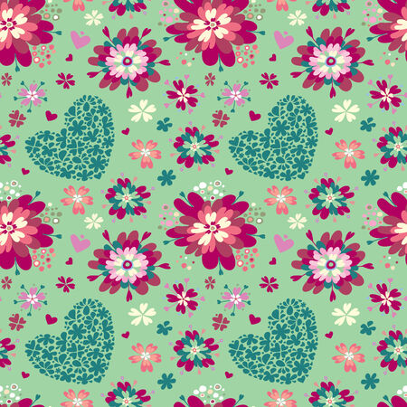 Floral background with hearts and flowers. Vector illustration.