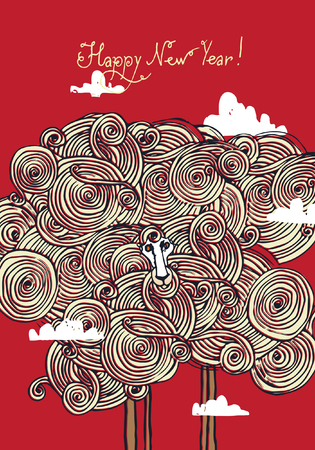 Christmas greeting card with a sheep on a background of sky and clouds. Vector illustration. Illustration