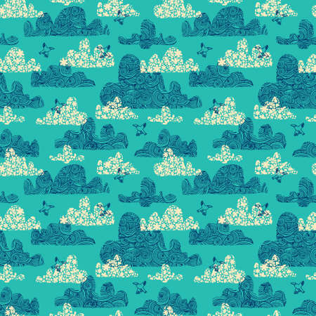 Seamless pattern with decorative clouds and birds on a background. Vector illustration. Illustration