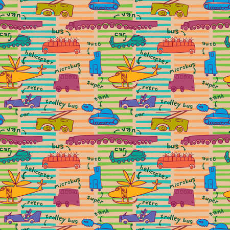 modes: Seamless pattern with different modes of transport in a children\ Illustration