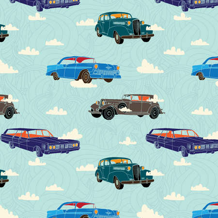 Seamless pattern with vintage cars on tne background or sky, clouds and arrows. Vector illustration.