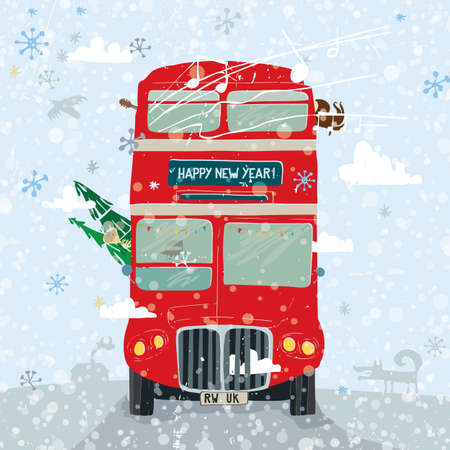 Christmas greetings card with fir tree and a double-decker bus on background of sky and clouds. Vector illustration.