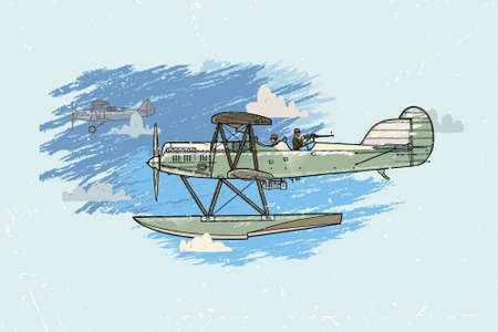 two story: Vector illustration of an old airplane on a background of sky and clouds.