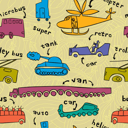 boyish: Seamless pattern with different modes of transport in a childrens style.