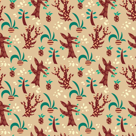 Seamless pattern with stylized trees and plants. Illustration