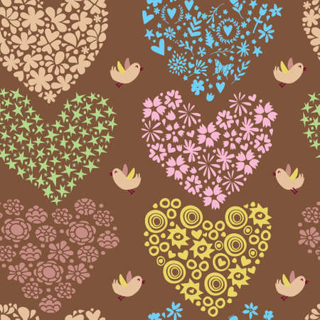 Seamless pattern with hearts and flowers. Vector illustration. Illustration