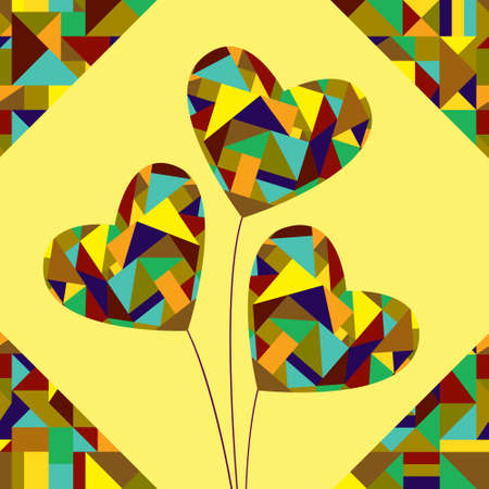 Bouquet of three hearts, decorated with geometric patterns. Vector greeting card for Valentine\\