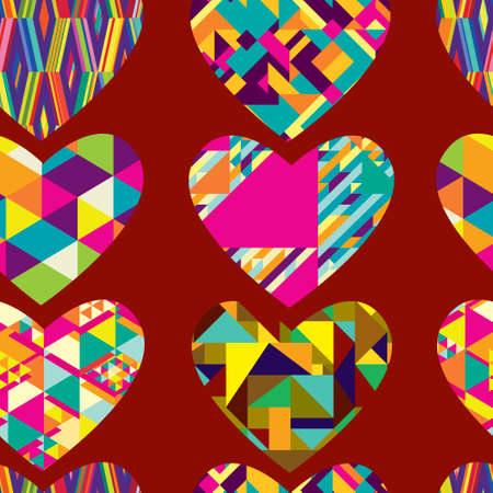 Seamless pattern of hearts, decorated with geometric patterns. Illustration