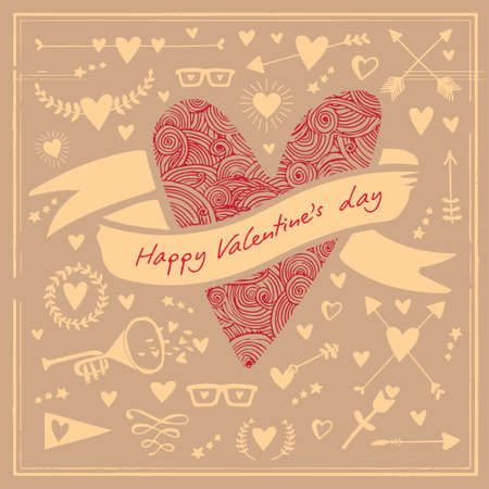 Greeting Card Valentines Day with big heart on the background hearts and other holidays elements. Vector illustration.