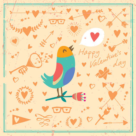 Vector cart with bird and hearts set.