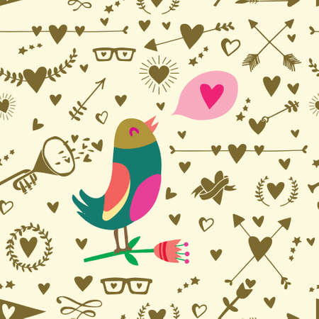 Seamless pattern with big bird, hearts, arrows and other holidays elements