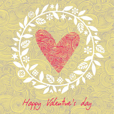 Greeting Card Valentines Day with big heart on the background hearts and floral elements. Vector illustration.