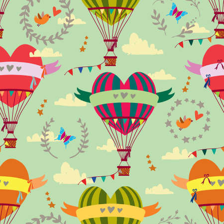 Seamless pattern with festive balloons in the form of hearts, birds and clouds.