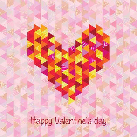 card geometrical heart on the background geometric.