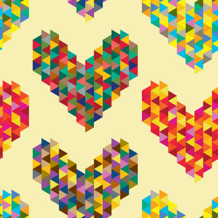 Background with decorative geometric and abstract hearts. Illustration