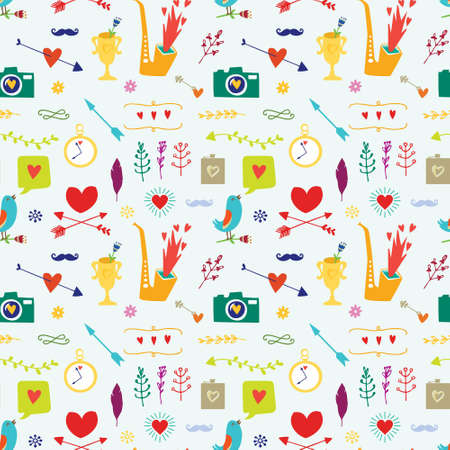 Seamless pattern with big bird, hearts, arrows and other holidays elements.