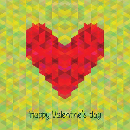 Greeting card geometric heart on the background seamless geometric pattern