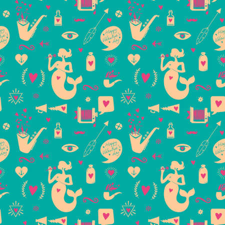 Seamless pattern with cute love symbols. Illustration