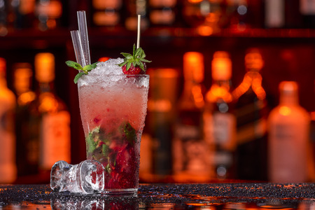 Strawberry Fruit Mojito On A Bar Counter