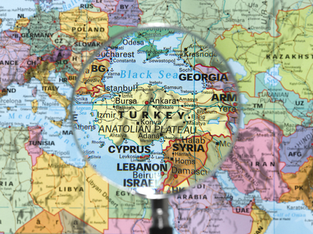 Turkey map viewed through magnifying glass. Other Magnifying Glass Photo Stock fotó