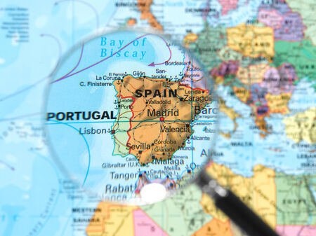 Spain map viewed through magnifying glass. Other Magnifying Glass Photo photo