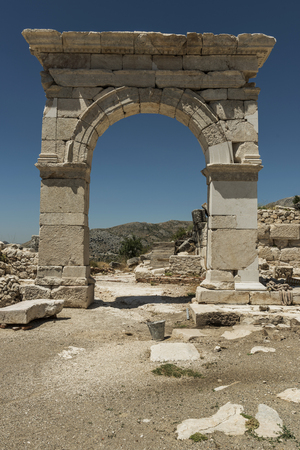 tabernacles: The Antonine Nymphaeum at Sagalassos Archaeological Site in Turkey was Excavated in 1994 and 1995. This monumental fountain was a rather baroquely ornamented building. The coffer blocks originally covering the tabernacles and aediculae bore theatre masks,