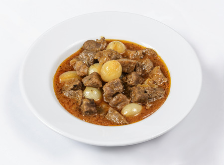 food state: Subject: A classic Boeuf Bourguignon (Beef stew prepared with red wine, onion, mushroom and herbs) from burgundy, France, served with roasted potatoes.