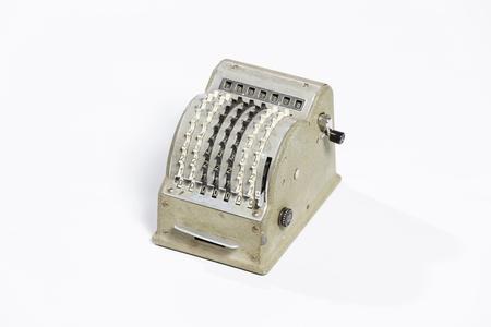 Macro shot of an antique calculator machine.