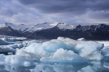 Blue iceberg at the Jokulsarlon glaciar lagoon in Iceland
