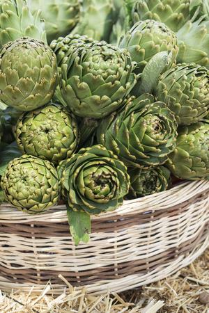Background of fresh artichokes Stock Photo