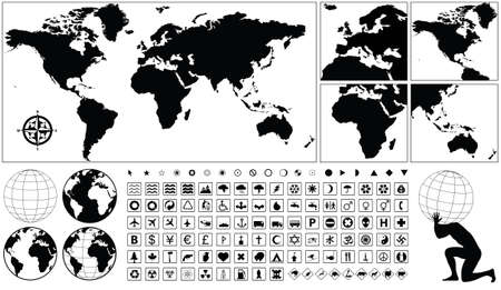 vector collection of geographical icons Vector