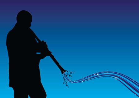 man de klarinet spelen  Vector Illustratie