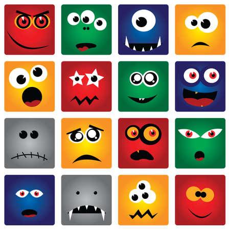 cuadrados: monstruos cuadrados Vectores