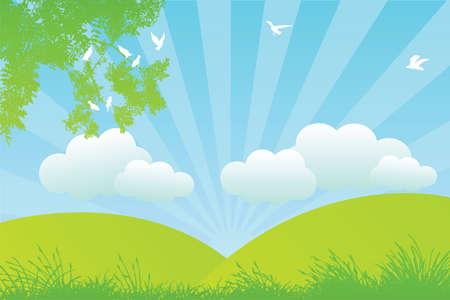 曇り草原  イラスト・ベクター素材