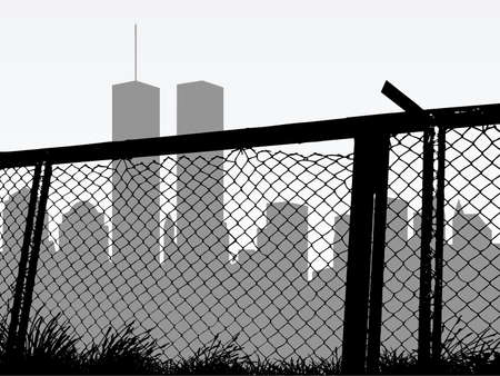 link fence: city silhouette
