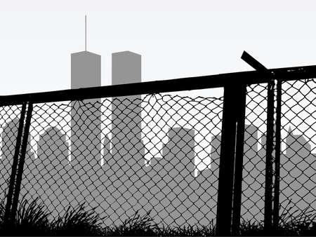 geketend: stad silhouet