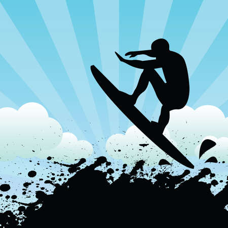 surf silhouettes: surfista