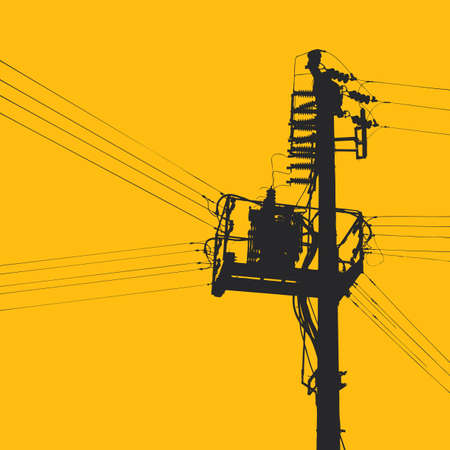electricity pylon Stock Vector - 6180096