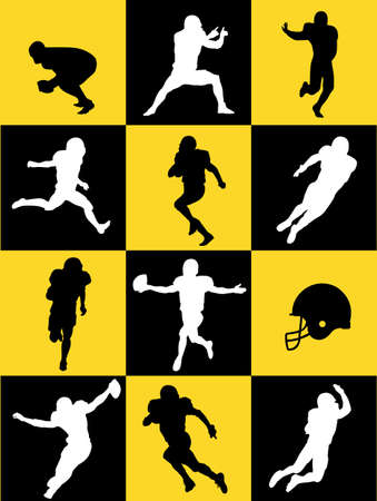 touchdown: football silhouettes Illustration