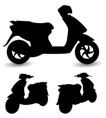 scooter: scooter silhouetten  Stock Illustratie