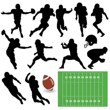 touchdown: vector football silhouettes Illustration