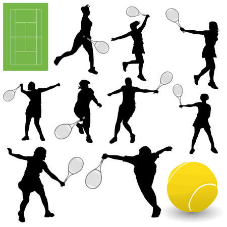 テニスのシルエットをベクターします。 写真素材 - 6180157