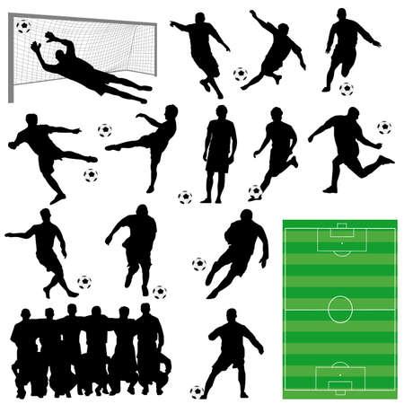 サッカーのシルエットをベクターします。  イラスト・ベクター素材