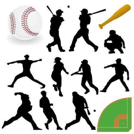 野球のシルエットをベクターします。 写真素材 - 6180090