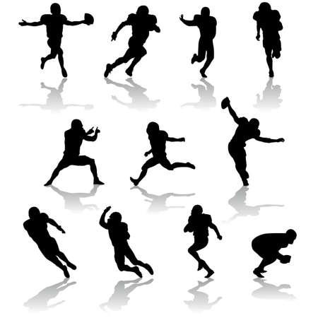 vector football silhouettes Illustration