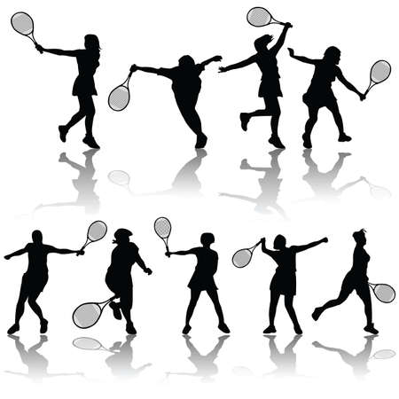 vector tennis silhouettes Vector