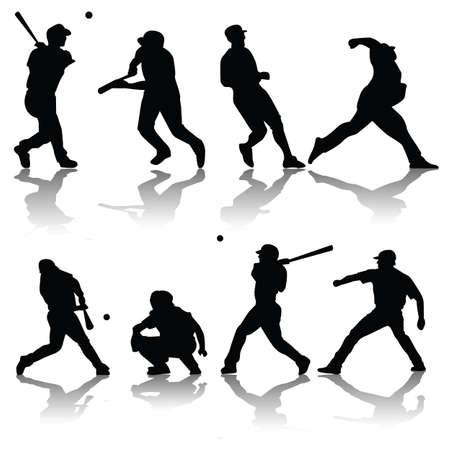 vector baseball silhouettes